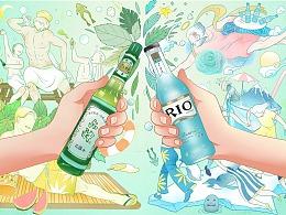 #六神风味鸡尾酒#天猫活动海报插画