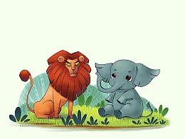 狮子与大象