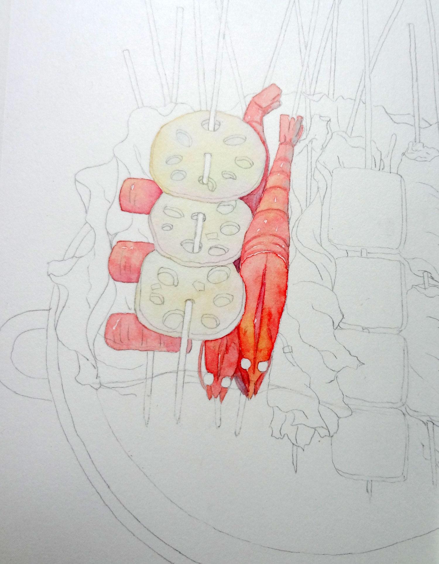 水彩手绘插画,美食串串