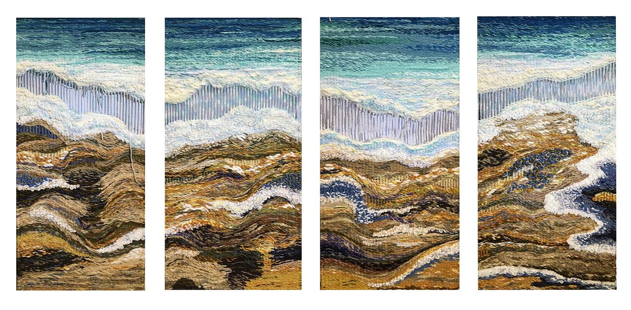 纤维艺术设计纯手工毛线编织系列作品《海浪》