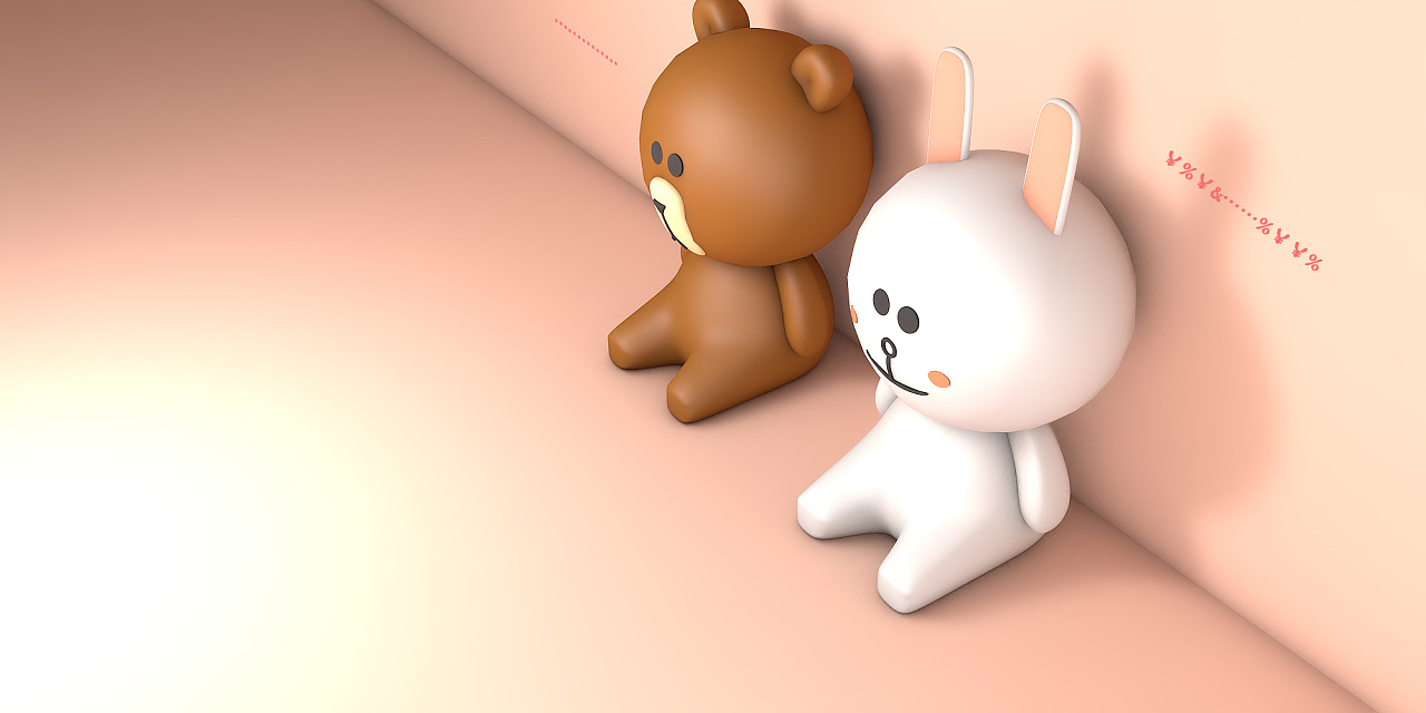 c4d-小灰熊与小录像白兔对篮网黄蜂图片