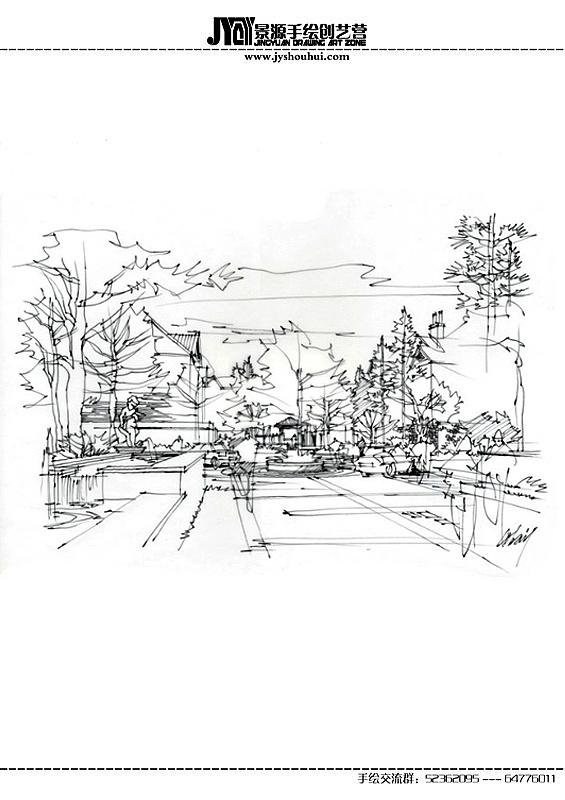 线描手绘|空间|景观设计|艺鸣design - 原创作品