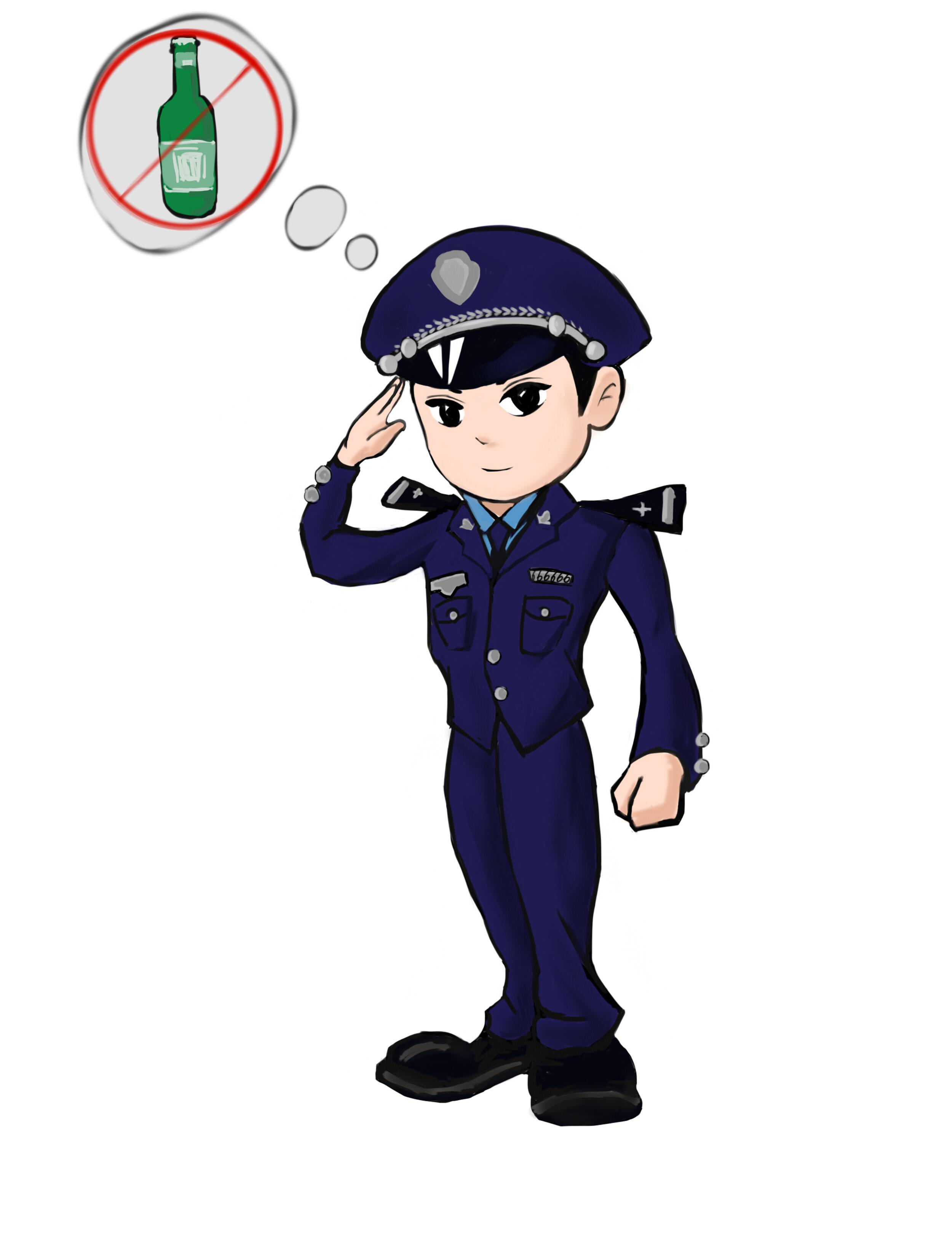 cdr  工商卡通形象.psd  手绘警察剪影插画矢量素材.图片