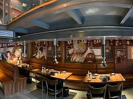 八樽和牛烧肉店墙绘设计及绘制
