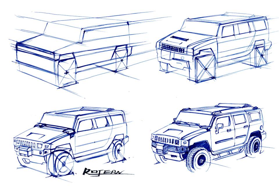 【汽车类】悍马汽车手绘表现图集锦-高清,无码,高清晰