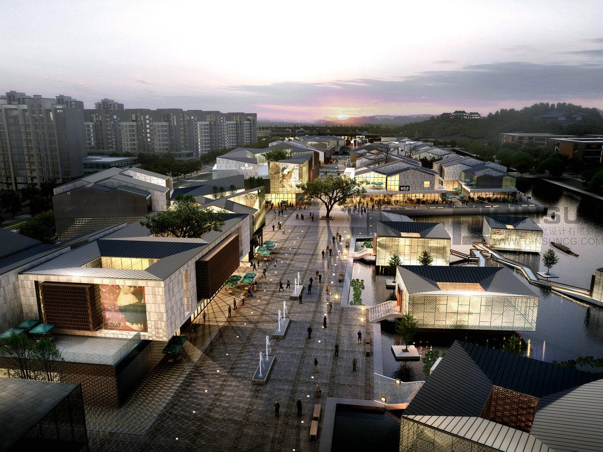 商业建筑鸟瞰图|三维|建筑/空间|今尚数字视觉 - 原创