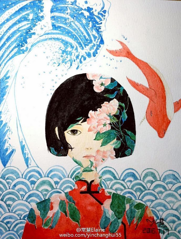 水彩画《大鱼海棠》椿与鲲的无奈