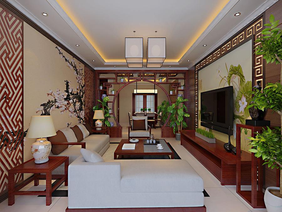 国际城135㎡三室两厅两卫新中式风格装修效果图