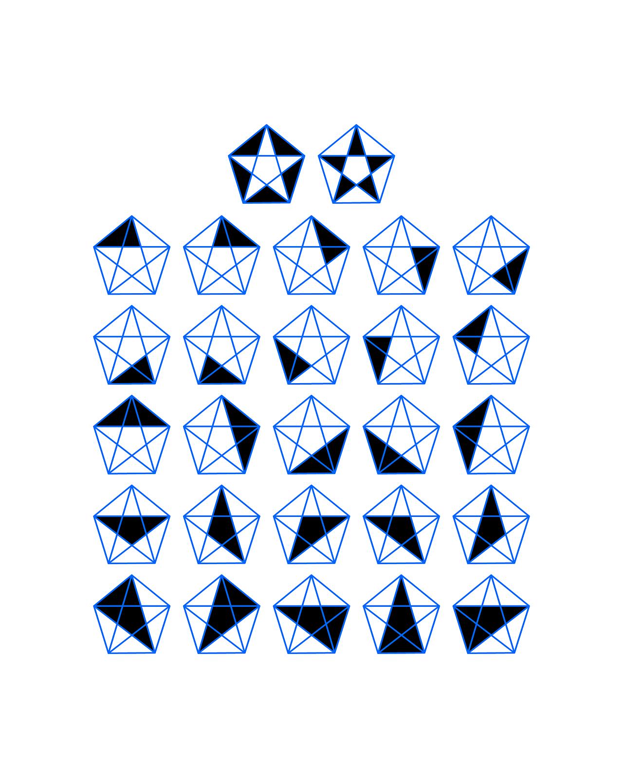 正五边形+五角星=多少个三角形?|平面|图案|M