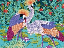 丝巾设计——荷塘漫步