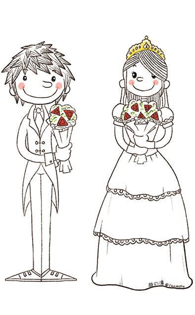 手绘婚纱 手绘婚礼请柬