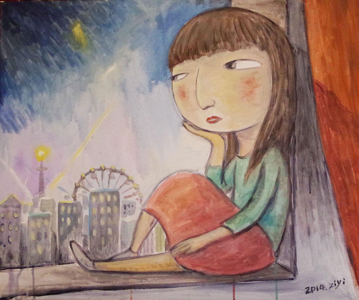 手绘插画,材料:丙烯,水彩,彩铅笔.