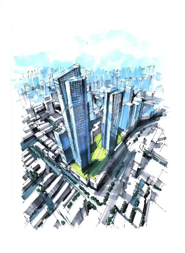 马克笔手绘|建筑设计|空间/建筑|宁宇航