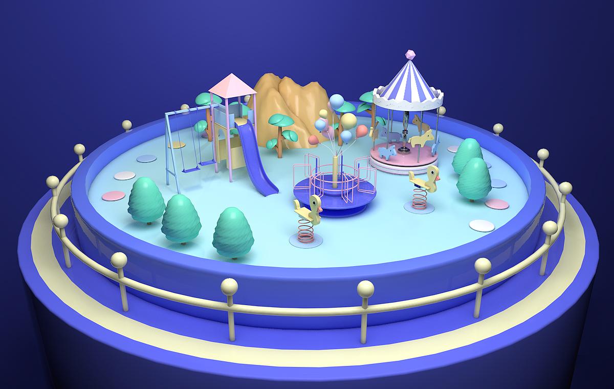 c4d-梦中的游乐园|三维|场景|口头 - 原创作品 - 站酷
