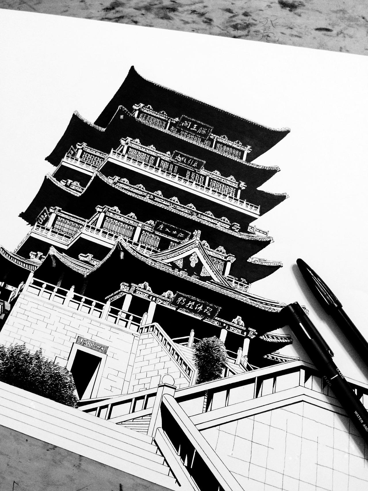 古建筑黑白涂鸦