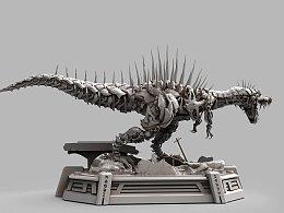 TF藐视机械恐龙数字模型渲染+实体模型涂装中