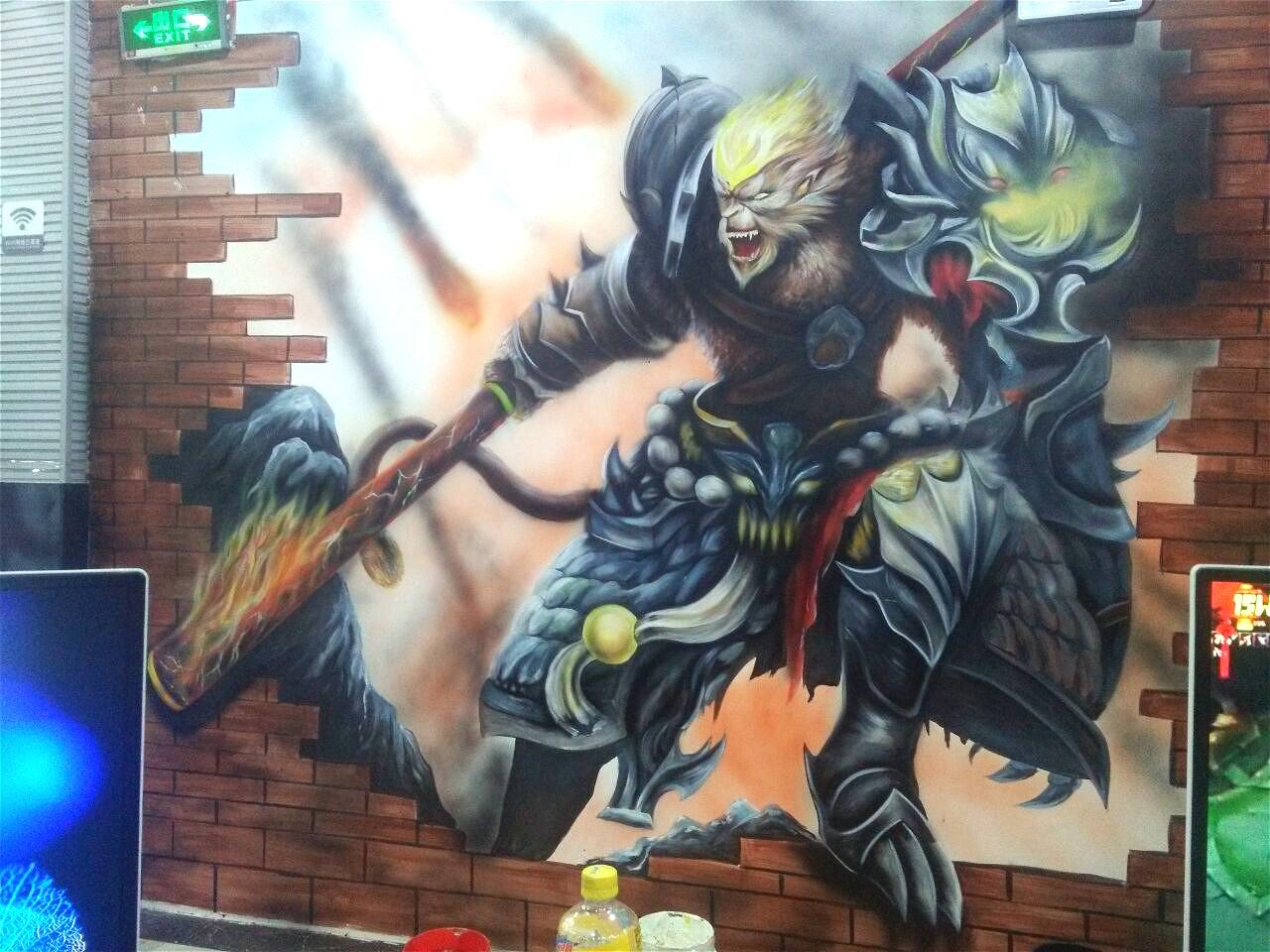 网咖墙绘英雄联盟背景墙——斗战圣佛