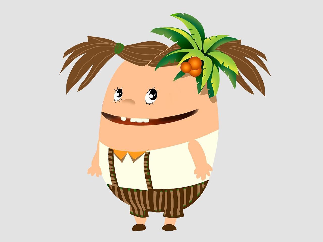 椰子卡通形象绘制图片