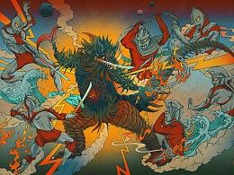 近期浮世绘大怪兽系列