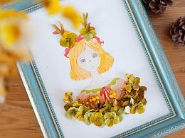 自己手绘水彩植物干花装饰画