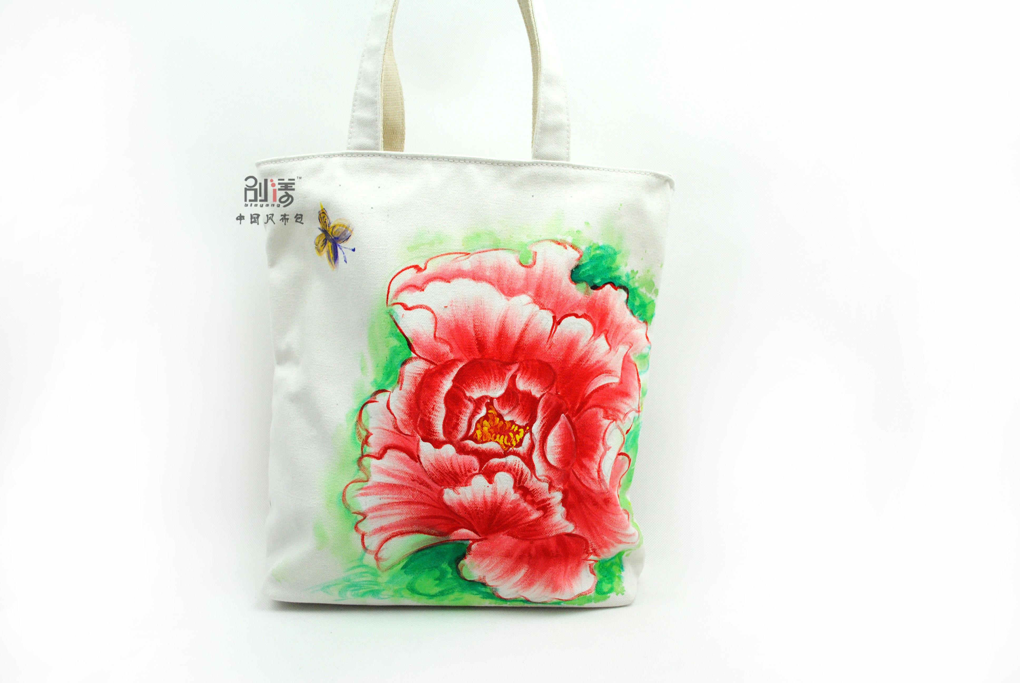 中国风手绘包牡丹花