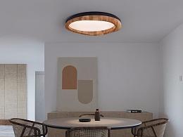 [木修远-驻]原创设计新中式实木吸顶灯室内空间软装
