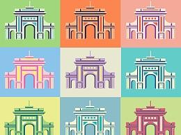 清华大学二校门 平面化邮票图案设计