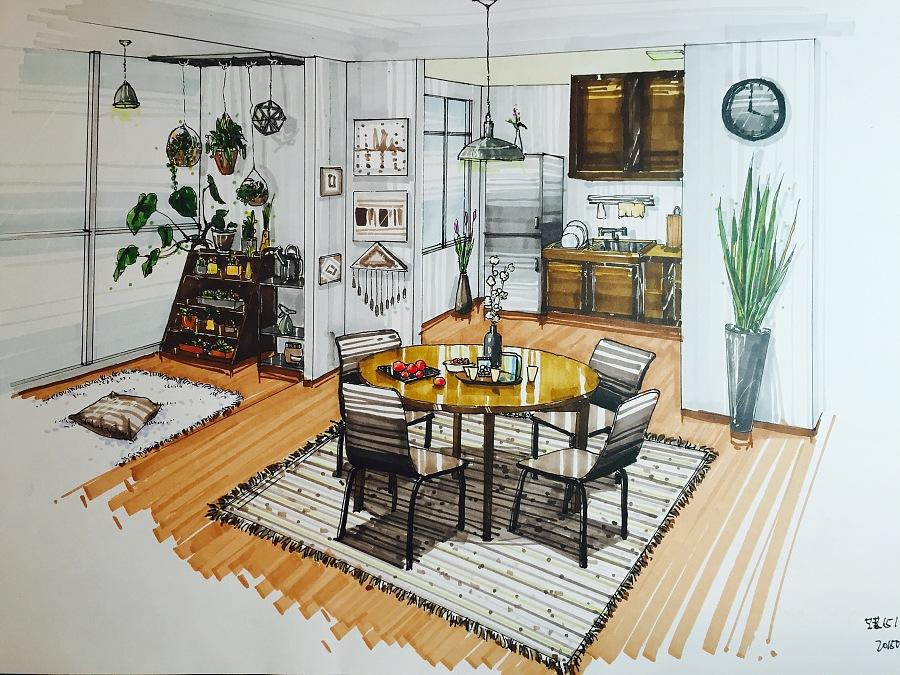 室内设计马克笔手绘|室内设计|空间|猫喵渔鱼 - 原创