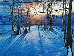 原创油画风景作品《雪原落日》