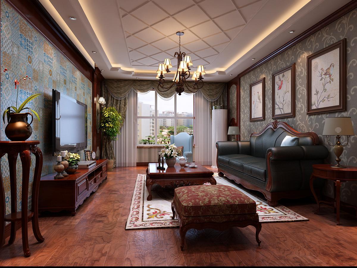 【紫林湾装修】135平米三室两厅美式风格装修效果图