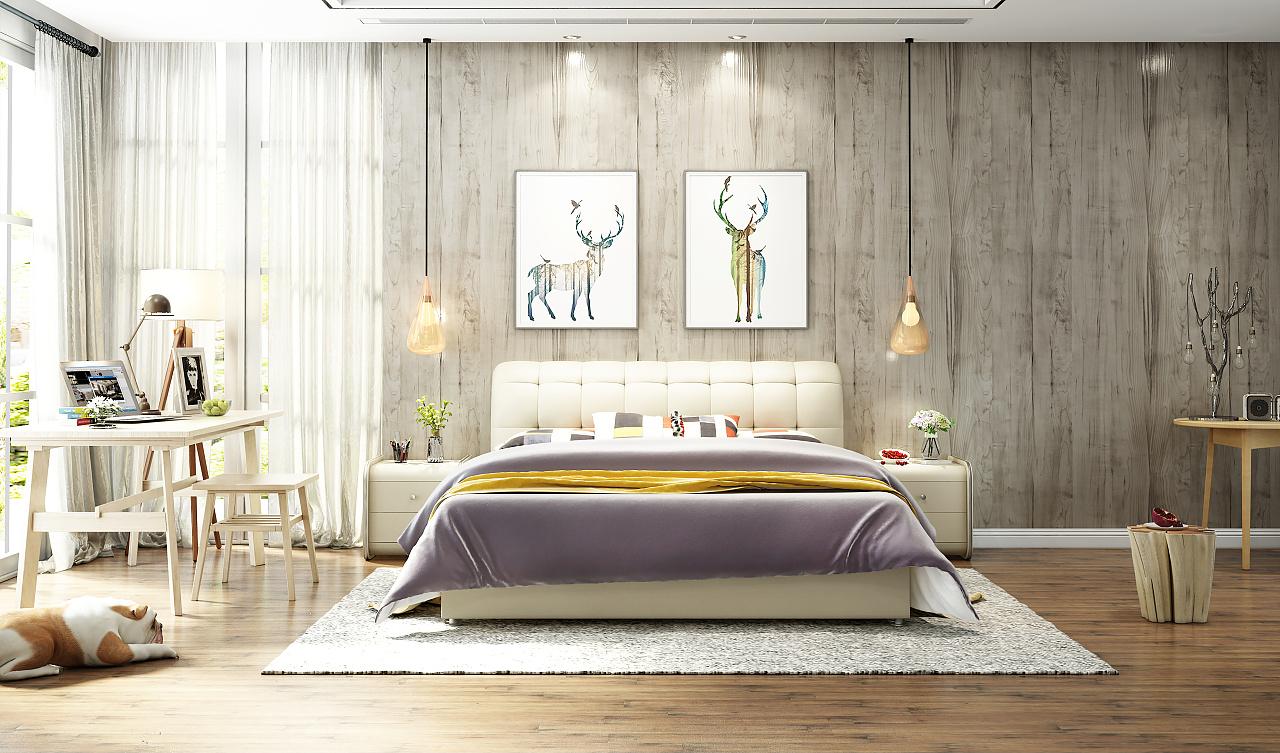 北欧皮床效果图|工业/产品|家具|ailu507 - 原创作品图片