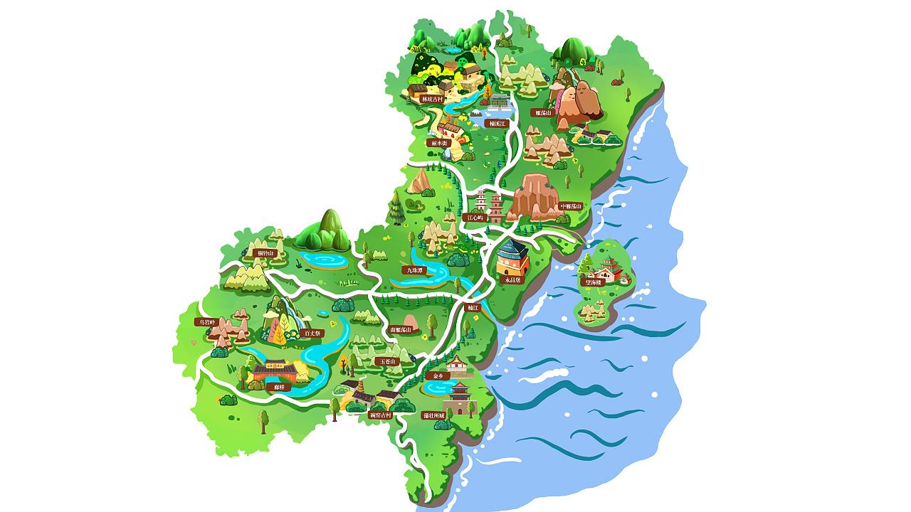 温州手绘地图