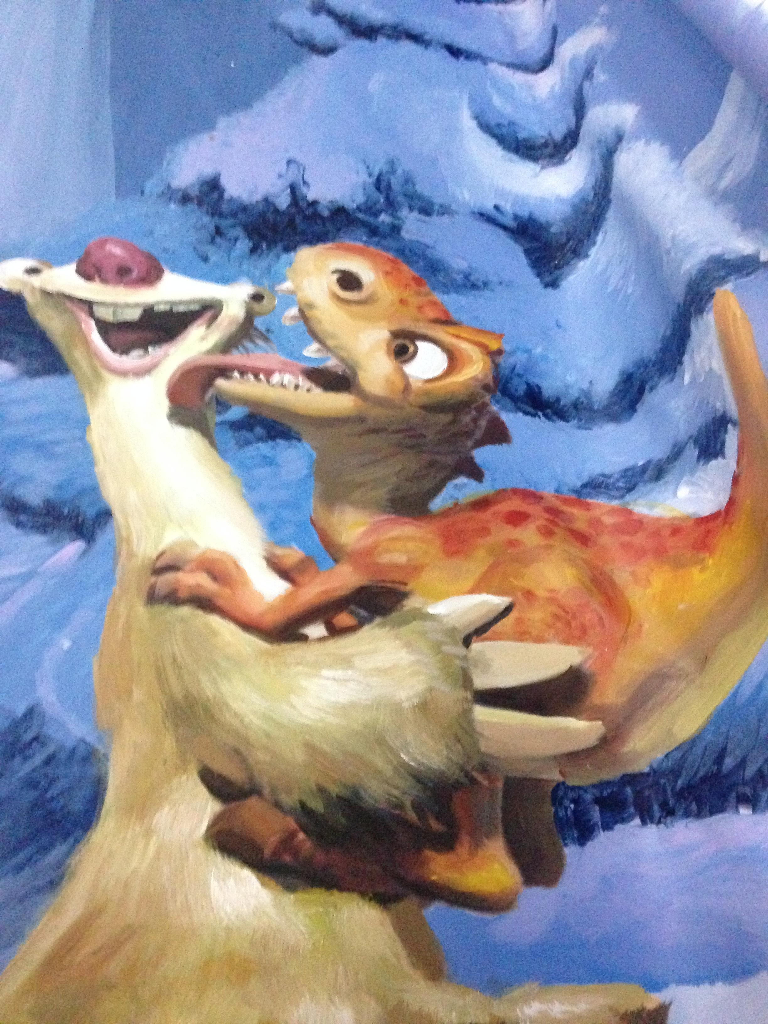 手绘《冰雪奇缘》巨幅3d立体画
