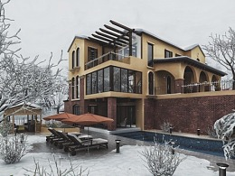 香江别墅雪景效果图表现