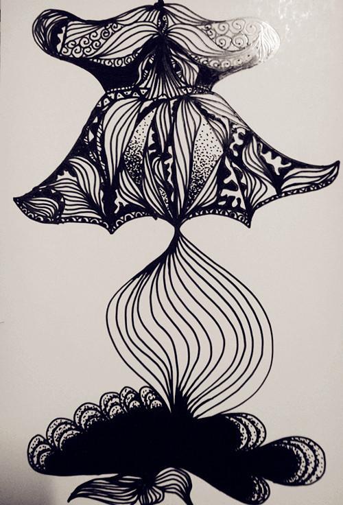 手绘黑白装饰画|绘画习作|插画|南风知我意
