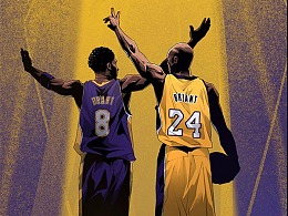 NBA湖人科比球衣退役长篇故事插画,二十年有多长?