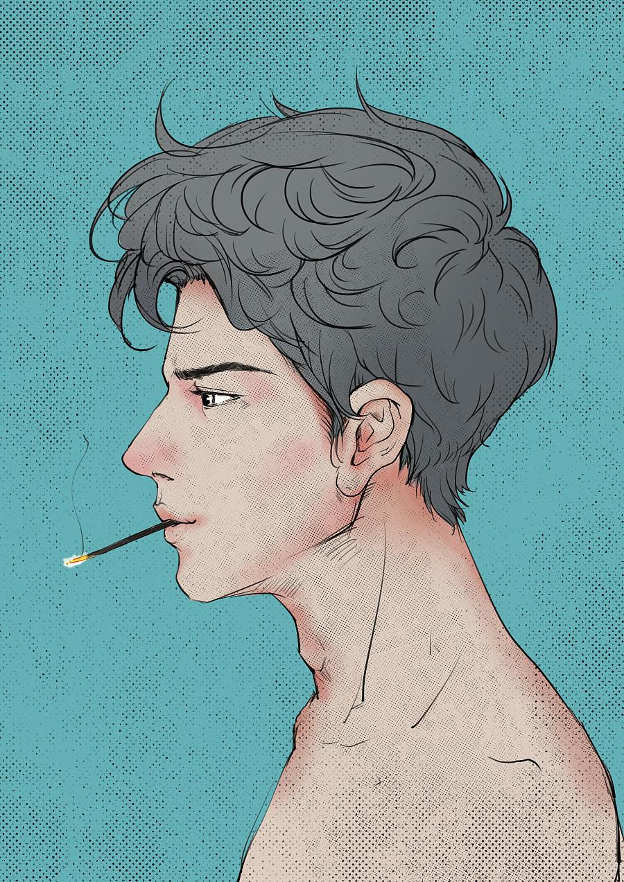抽烟的男人|绘画习作|插画|人格分裂夙