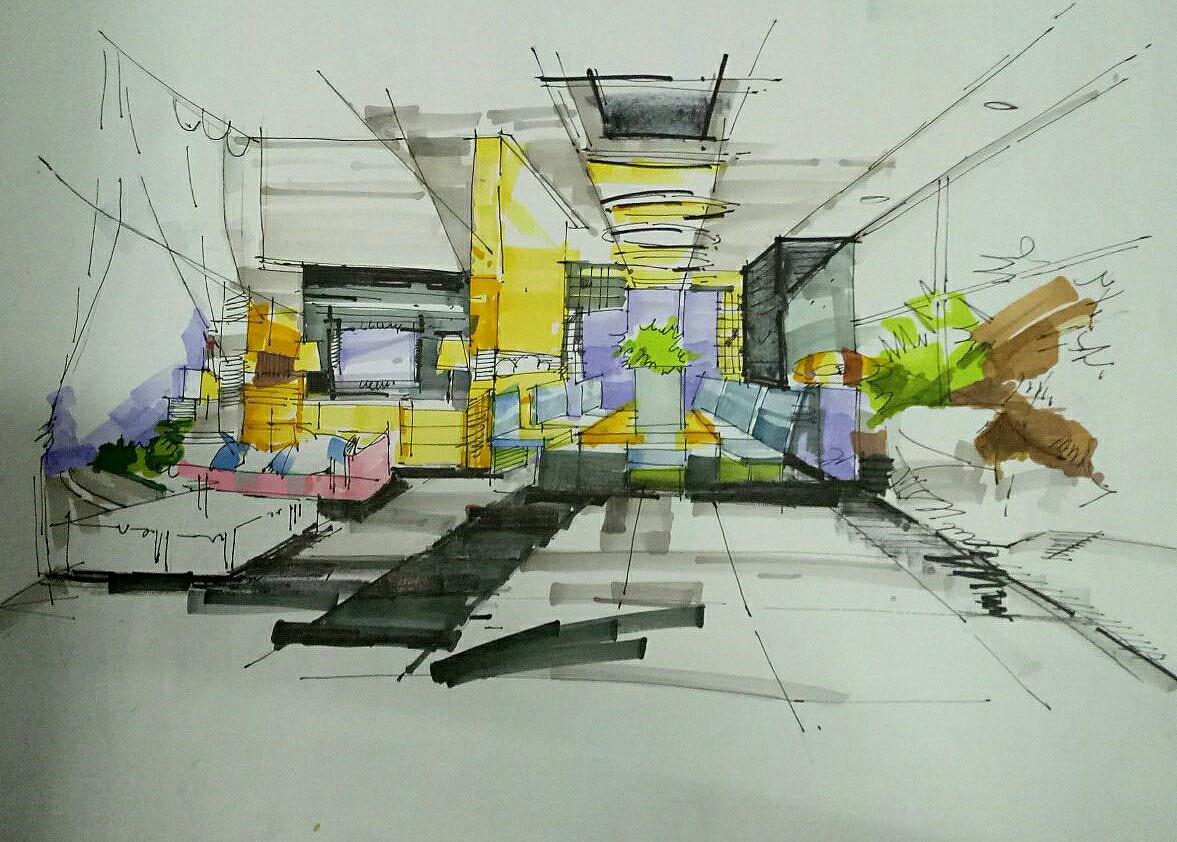 手绘效果图|空间|室内设计|cylllllll - 原创作品
