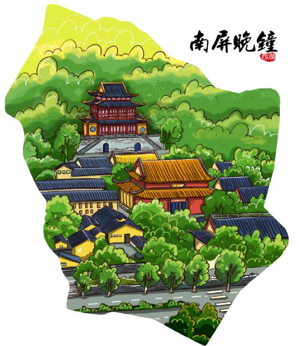 旅游手绘卡通 杭州西湖十景 地图绘画 卡通人物地图介绍 策划地图
