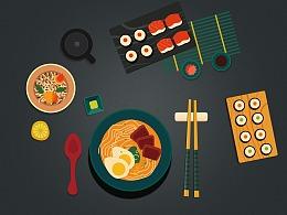 日式料理插画
