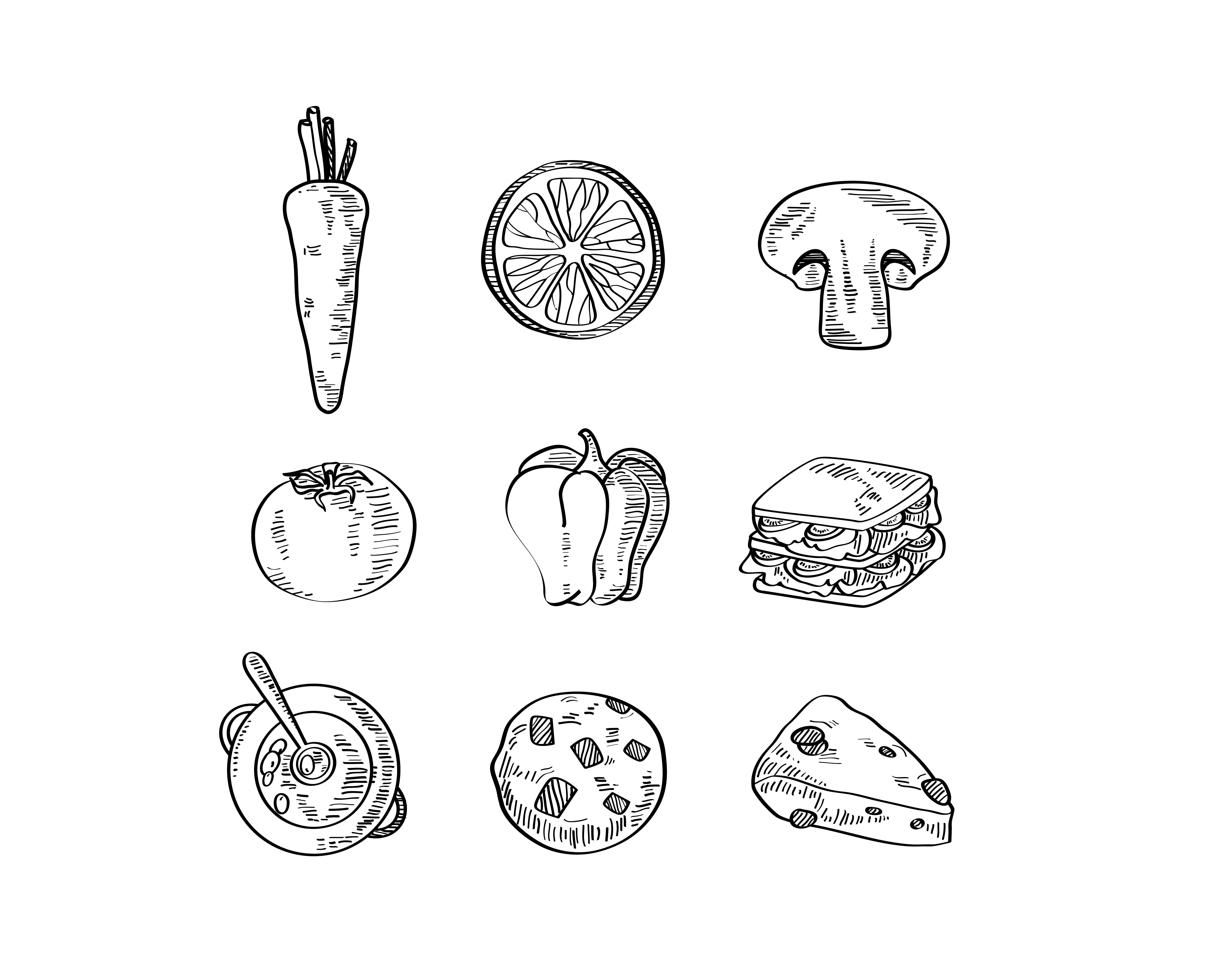 手绘线描各种吃的,蔬菜水果西餐