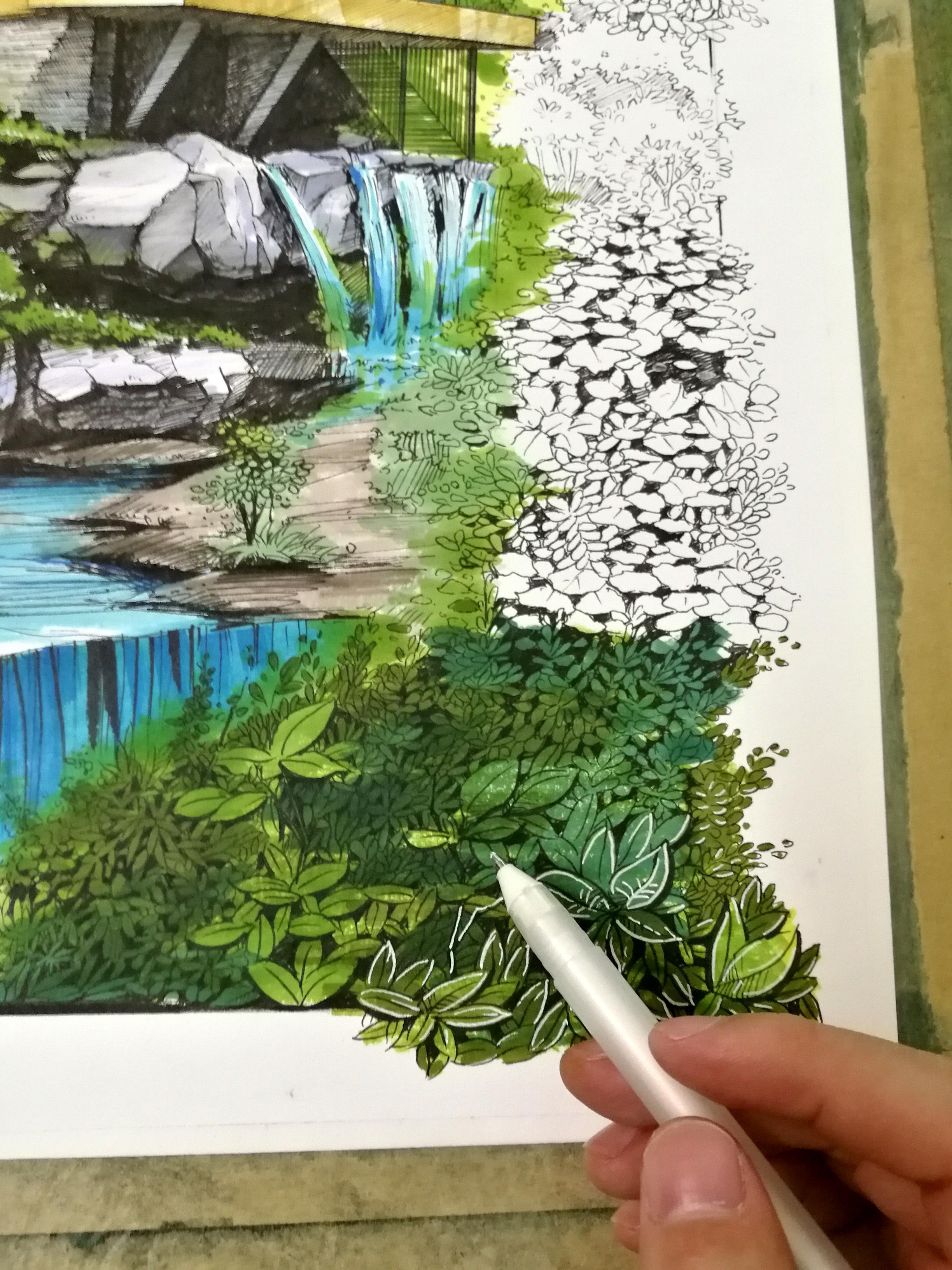 马克笔手绘作品:《赖特--流水别墅》