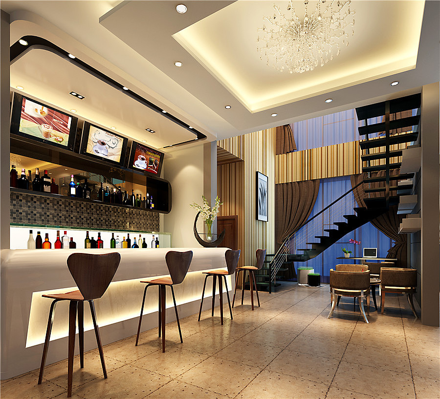 《咖啡频道装修设计效果图》自贡咖啡厅设计|自贡咖啡
