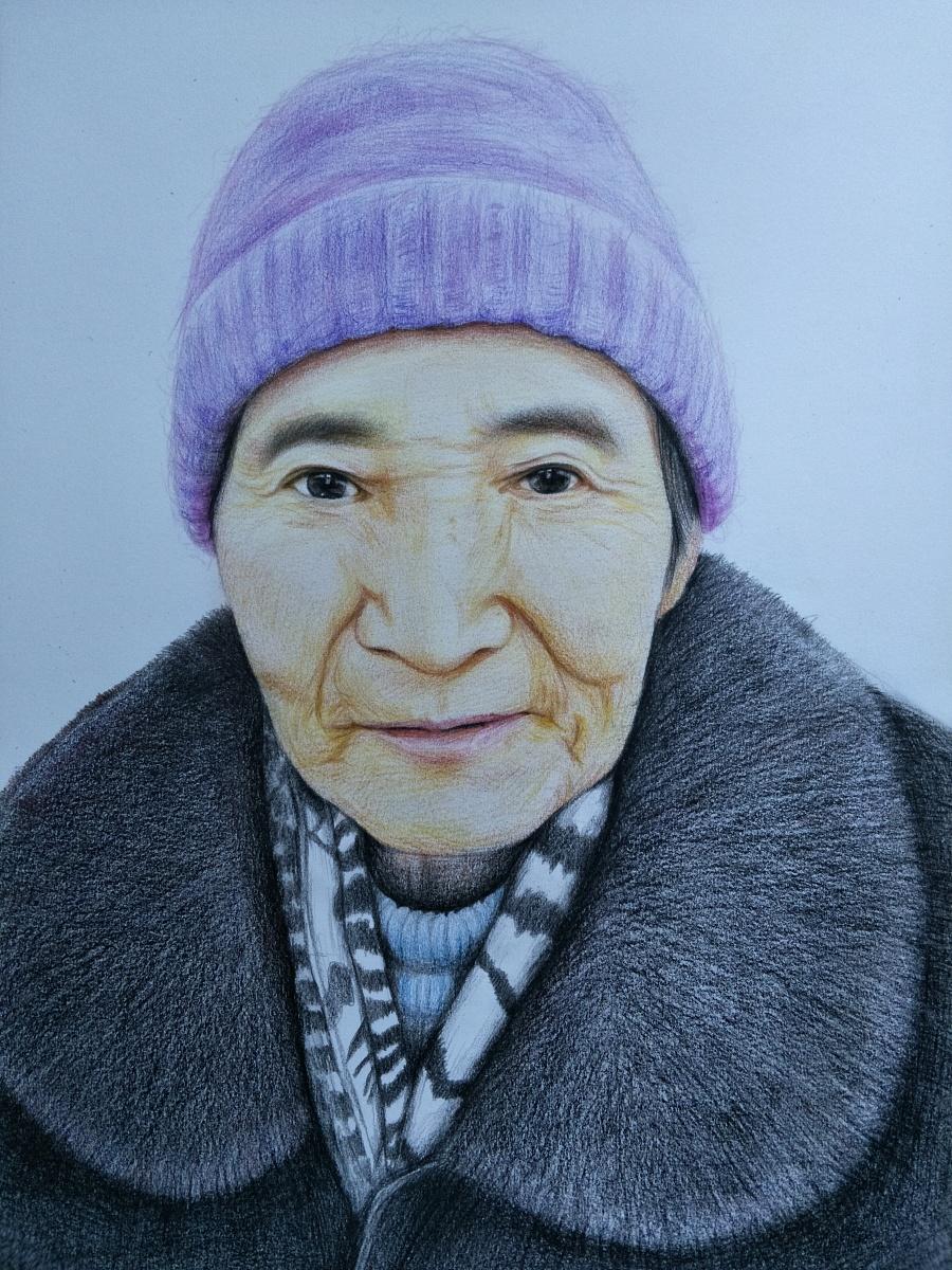 彩铅手绘老人肖像画---叶青(过程)