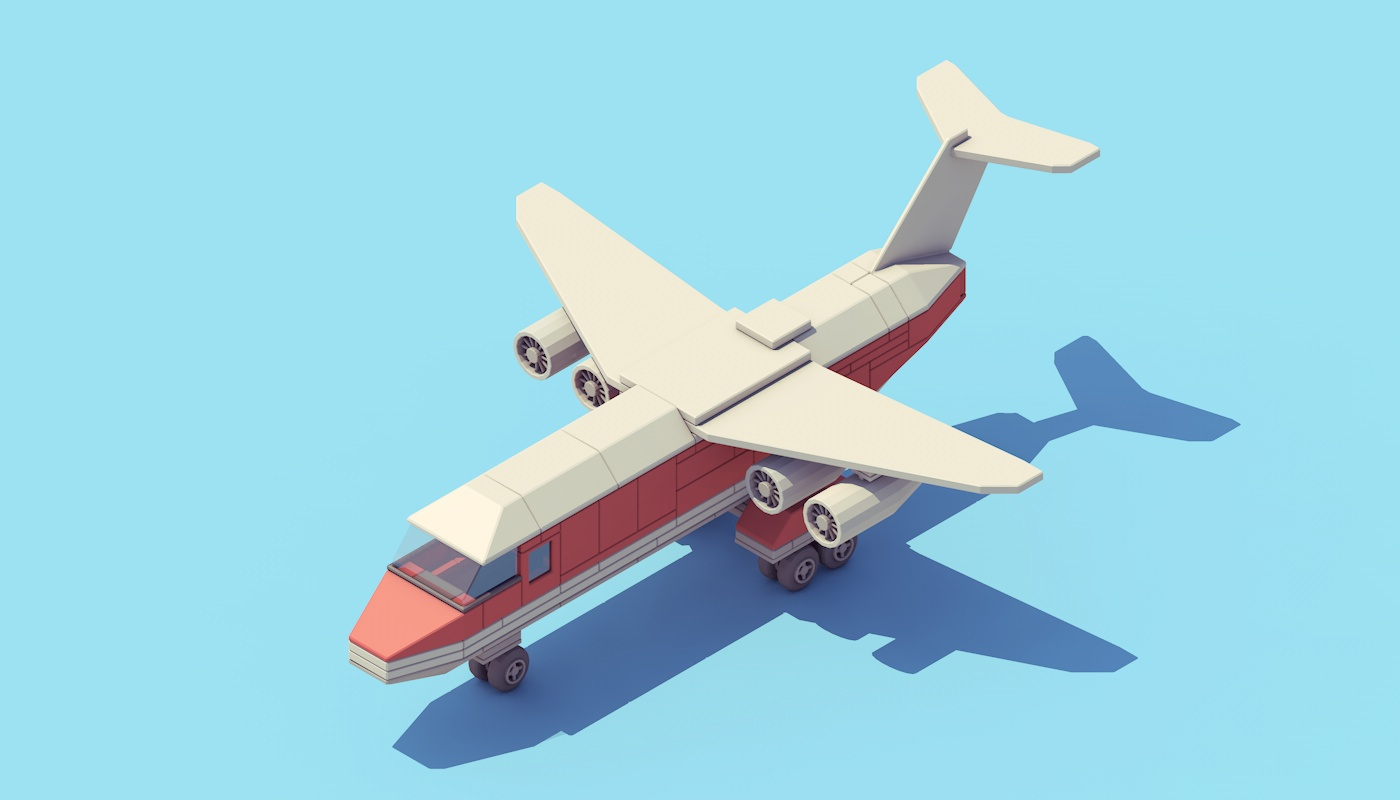 c4d积木飞机