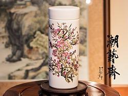 纯手绘潮彩骨瓷杯《花开富贵》两种不同技法