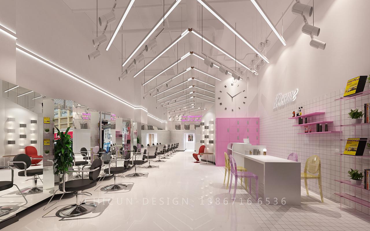 尺寸v尺寸 发廊少女风网红风理发店粉色室装修内设海报设计手绘图片