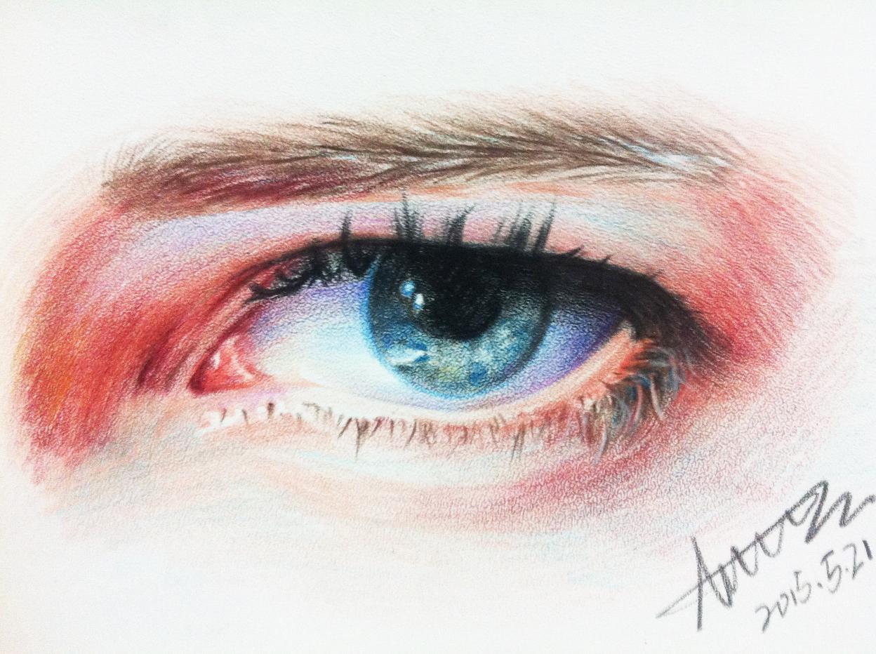 彩色铅笔眼睛练习