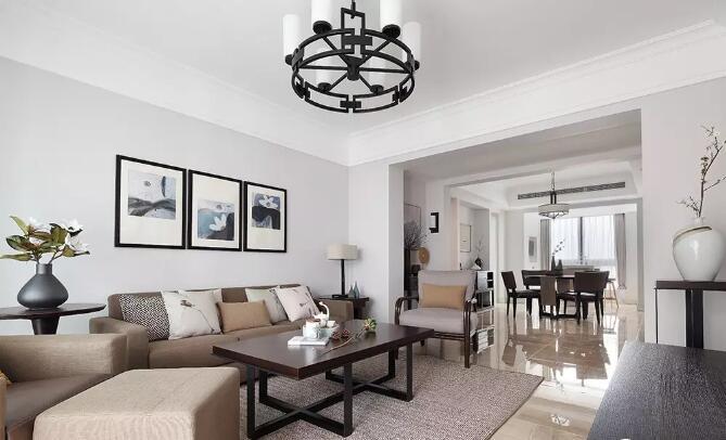 天伦庄园三室两厅125平现代中式风格装修需要多少钱图片