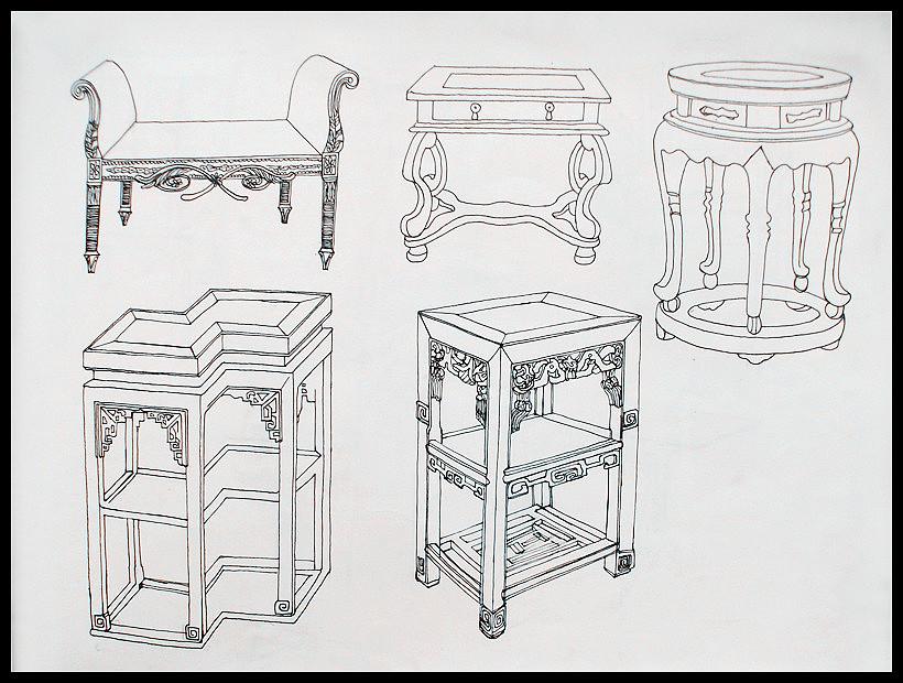 家具手绘图片说明